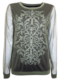 N3xt Khaki Tribal Embroidered Cut-Out Design Mesh Lined Top - Size 6 to 20