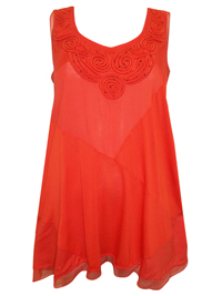 P3rUna ORANGE Bead Embellished Cornelli Lace Trim Tunic - Size 6 to 24