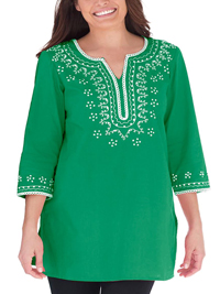 Woman Within GREEN Sequin Embroidered Top - Plus Size 22/24 to 42/44 (Large to 5X)