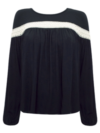 Missguided BLACK Crochet Long Sleeve Peasant Top - Size 4 to 12