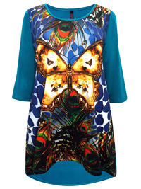 Ivans Turquoise Butterfly Printed Front Panel Dipped Back Tunic Top - Plus Size 14 to 26/28