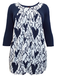 INPShop DARK-BLUE Printed Layerd Tunic Top - Plus Size 14 to 30/32