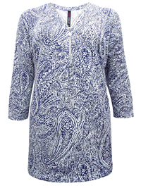 INPShop BLUE Paisley Print Zip-V-Neck Jersey Tunic Top - Plus Size 16 to 30/32