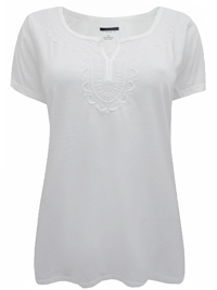 Talbots WHITE Pure Cotton Notch Neck Embroidered Tee - Size 14 to 24 (LP to 3X)