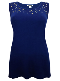 Style&Co NAVY Pure Cotton Sleeveless Embellished Vest - Size 6 to 14/16 (XSmall to Large)