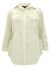 Denim 24/7 IVORY Embroidered Lace Long Sleeve Shirt - Plus Size 12 to 32