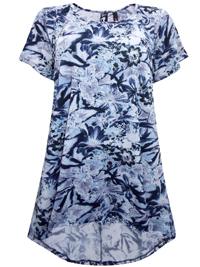 Plus Size Lilac Blue Floral Print Longline Tunic Top - Size 14 to 30/32