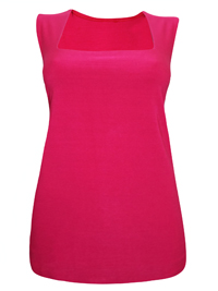 Ann Harv3y HOT-PINK Sleeveless Square Neck Top - Plus Size 16 to 32