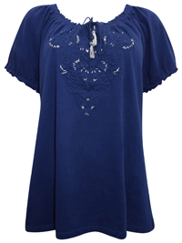 Plus Size NAVY Pure Cotton Embroidered Gypsy Top - Size 18 to 26 (Large to 3X)