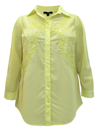 Denim 24/7 YELLOW Longline Embroidered Shirt - Plus Size 12 to 32