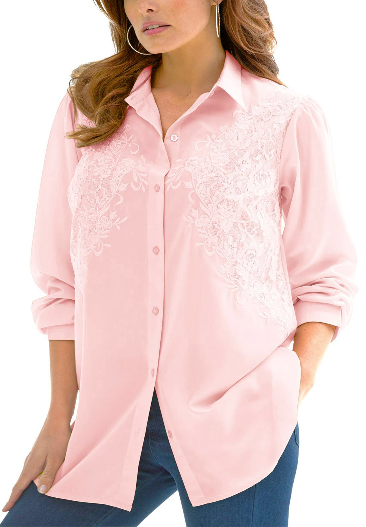 Denim 24/7 PINK Longline Embroidered Shirt - Plus Size 12 to 32