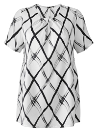 Julipa White Grid Print Pleat Neck Blouse - Plus Size 10 to 32