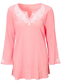 Cellbes PINK Pure Cotton Embroidered Kaftan Top - Size 8/10 to 24/26