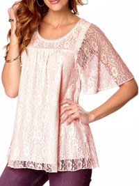 HappyHolly POWDER-PINK Overlaid Lace Short Sleeve Top - Size 6/8 to 14/16
