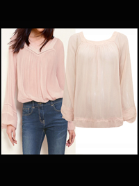 N3xt PALE-PINK Long Sleeve Chiffon Peasant Top - Size 6 to 22
