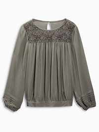 N3xt Olive GREY Crochet Lace Yoke Blouse - Size 6 to 20
