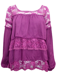 Miss Milla MAGENTA  BoHo Dream Lace Panelled Long Sleeve Top - Size 8 to 20 (EU Size 34 to 46)