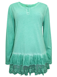 Amy Vermont MINT Modal Blend Lace Panel Tunic - Size 10 to 22 (EU 36 to 48)
