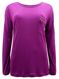 Mira DARK-MAGENTA Long Sleeve Zip Pocket Top - Size 6/8 to 14/16 (EU 32/34 to 40/42)