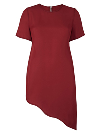 SimplyBe DEEP-RED Asymmetric Top - Plus Size 12 to 32