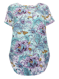 P3rUna GREEN Floral Print Short Sleeve Top - Size 6 to 20