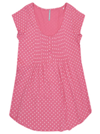 Blancheporte PINK Pure Cotton Polka Dot Pintuck Top - Size 6/8 to 24 (EU 34/36 to 52)