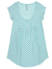 Blancheporte MINT Pure Cotton Polka Dot Pintuck Top - Size 6/8 to 24 (EU 34/36 to 52)