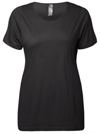 Y0URS BLACK Short Sleeve Scoop Neck T-Shirt - Plus Size 16 to 30/32