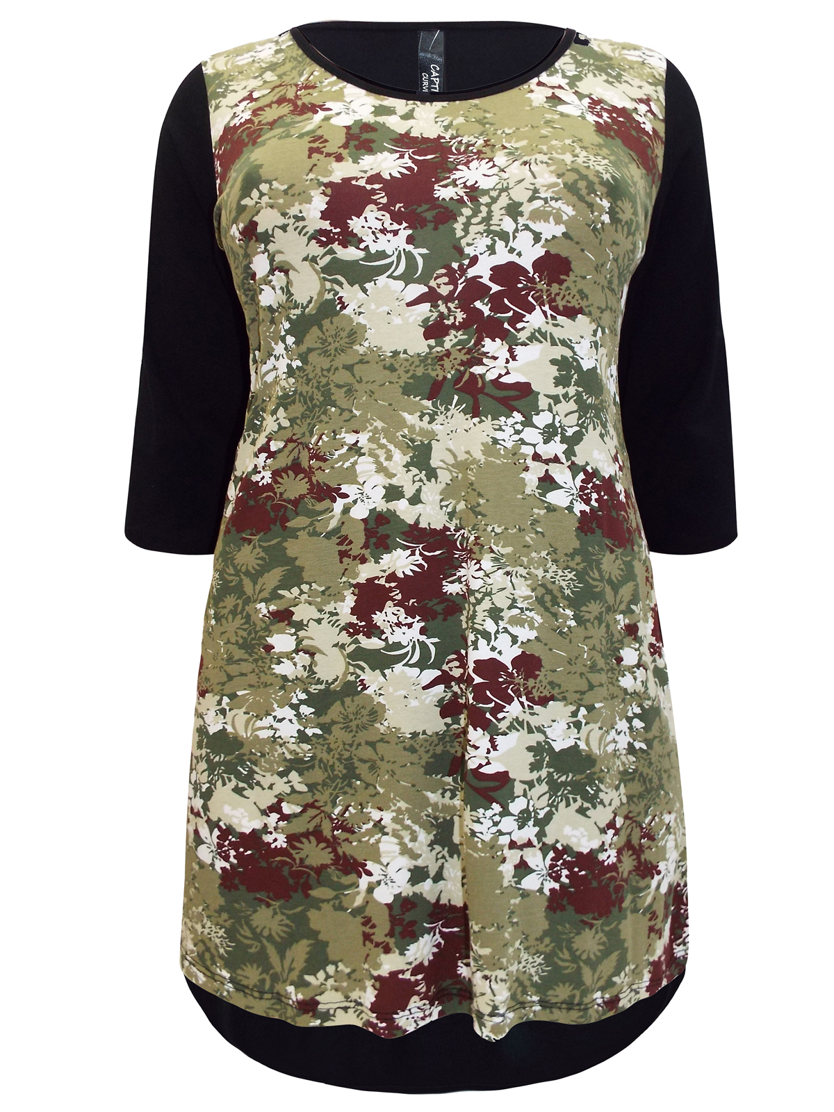 Captive Curve Black/Green Floral Print Oblong Hem Tunic - Plus Size 16 to 30/32
