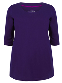 Y0URS PURPLE 3/4 Sleeve Band Scoop Neckline Basic T-Shirt - Plus Size 16 to 30/32