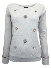 Ellos GREY Long Sleeve Jewel Embellished Sweater - Size 8/10 to 24/26 (EU 34/36 to 50/52)