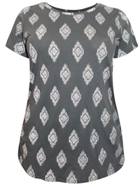 Ivans GREY Diamond Print Ruched Side Cotton Top - Plus Size 16 to 34/36