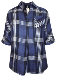Capsule PURPLE V-Neck Roll Sleeve Checked Shirt - Plus Size 10 to 30