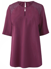 Capsule DAMSON Crochet Shoulder Blouse - Plus Size 10 to 30