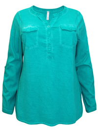 Sheego GREEN Roll Sleeve Oil Wash Top - Plus Size 18/20 to 30/32