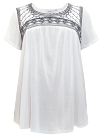 Avenue WHITE Bead Embellished Short Sleeve Top - Plus Size 14/16 to 30/32