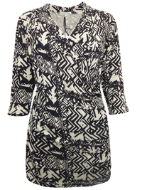Tommy&Kate BLACK Printed Wrap Jersey Top - Plus Size 12/14 to 20/22