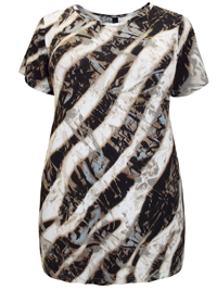 Ivans BROWN Animal Print Jersey Jersey Top - Plus Size 16 to 34/36