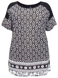 Ivans BLACK Border Print Short Sleeve Top - Plus Size 16 to 34/36