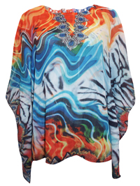 ForeverOne ORANGE Gem Embellished Kaftan Top - Size 12 to 20 Small to XLarge