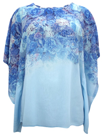 ForeverOne BLUE Rose Print Gem Embellished Kaftan Top - Size 12 to 20 Small to XLarge