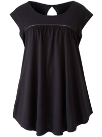 Capsule BLACK Ladder Trim Frill Sleeve Top - Size 16 to 32