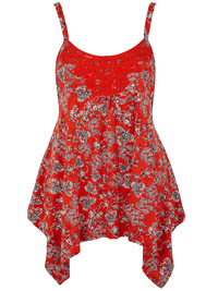 Anthology RED Asymmetric Hem Cami Top - Size 10 to 30