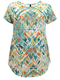Ivans Abstract Geo Print Modal Cotton Jersey Top - Plus Size 16 to 34/36