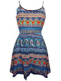 Feathers NAVY Tile Print Smocked Waist Dress - Size Small to Large