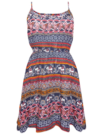 Feathers NAVY Ethnic Print Smocked Waist Dress - Size Small to XLarge