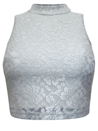 M1ssS3efridge SILVER Lace High Neck Crop Top - Size 6 to 8