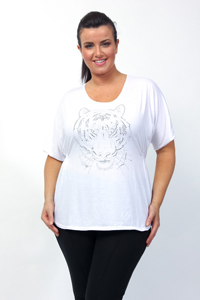 Captive WHITE Raglan Sleeve Tiger Embellished Top - Plus Size 14/16 to 26/28