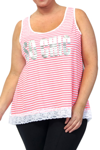 Captive CORAL Stripe Foil Print SO CHIC Lace Hem Top - Plus Size 18/20 to 30/32