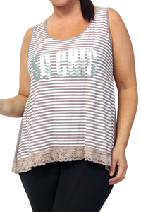 Captive Light Brown Stripe Foil Print SO CHIC Lace Hem Top - Plus Size 18/20 to 30/32